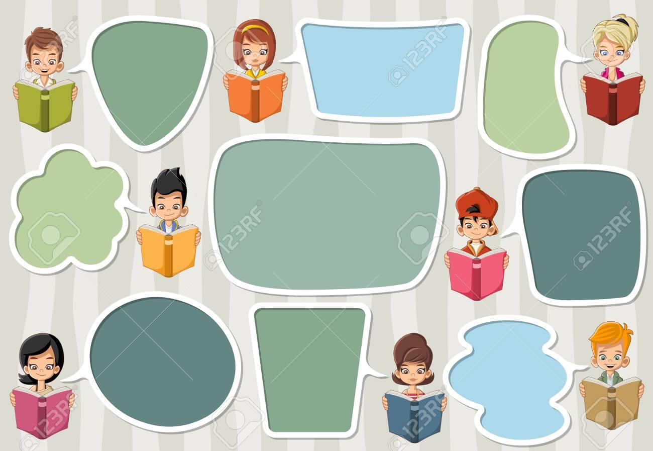 Plantilla Con Los Niños La Lectura De Libros De Dibujos Animados ...
