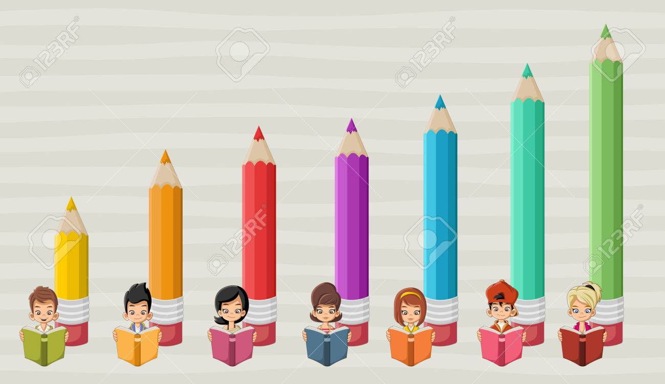 Cute cartoon children students reading books in front of colored cute cartoon children students reading books in front of colored pencil chart stock vector 58794647 nvjuhfo Gallery