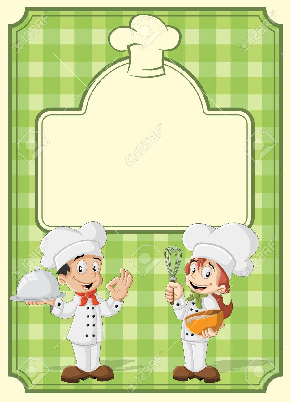 Menu Del Restaurante Verde Con Chefs De La Cocina De Dibujos