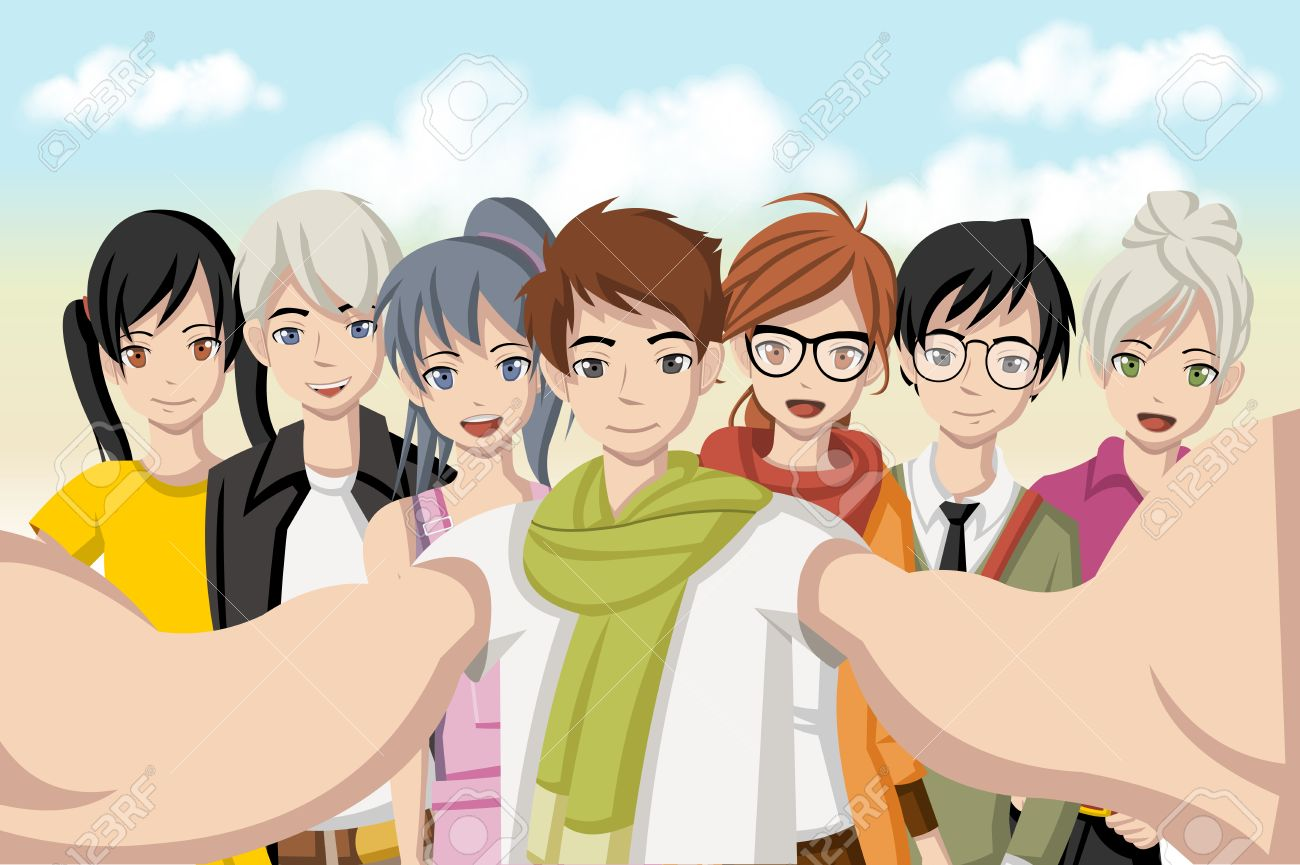 Group of cartoon young people taking selfie photo. Picture of manga anime teenagers. - 61990154