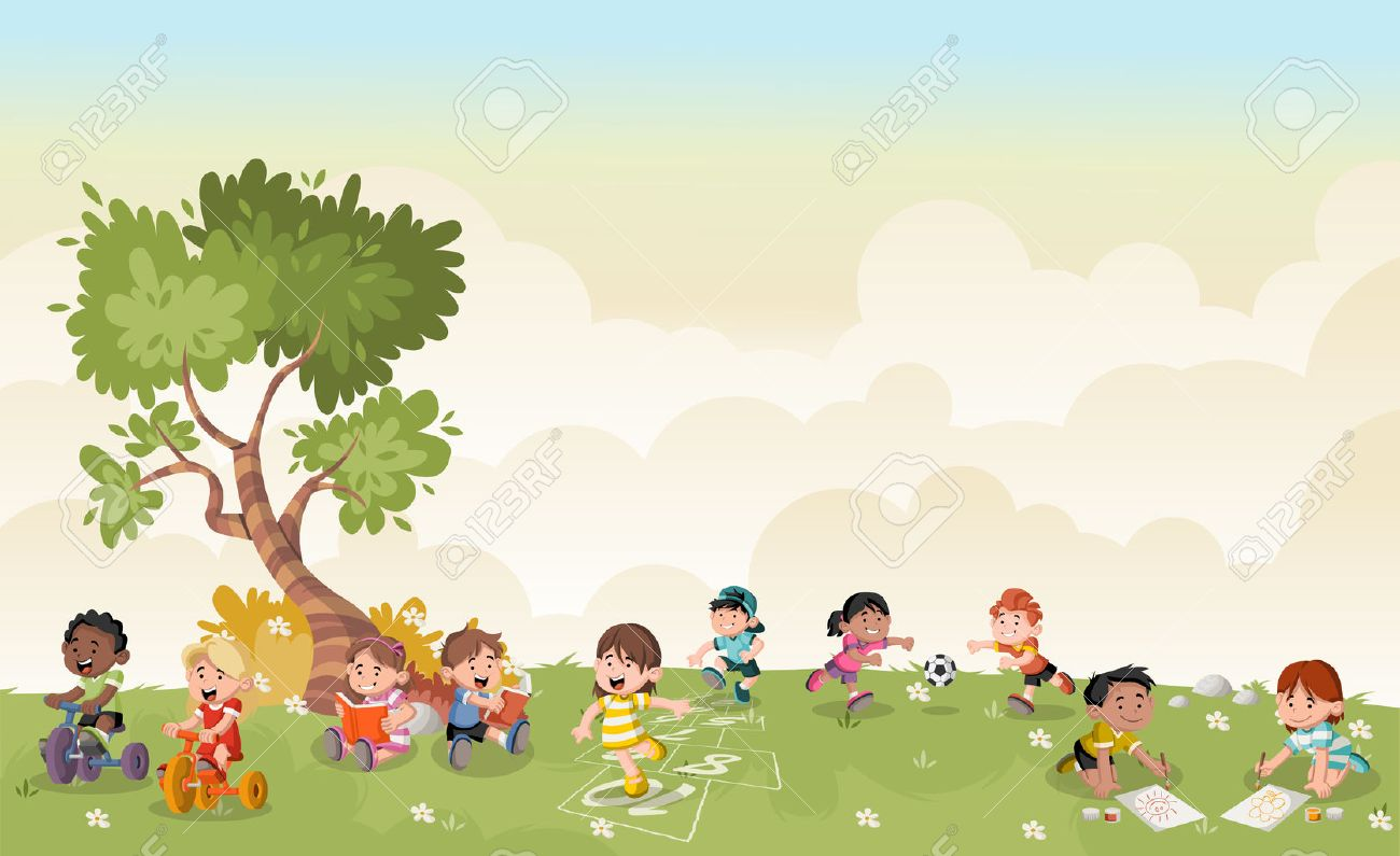 Green Grass Landscape With Cute Cartoon Kids Playing Sports