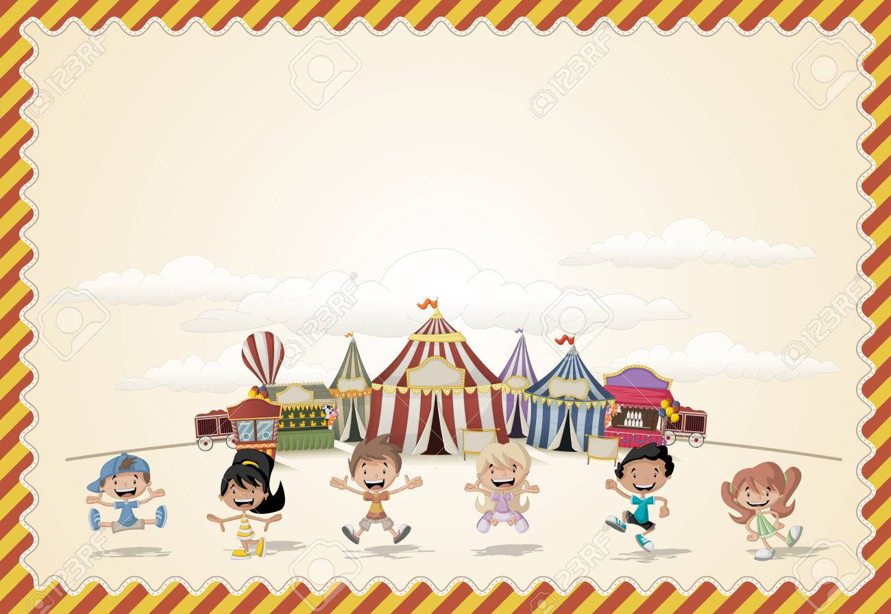 Card With A Group Of Cartoon Happy Children Playing In Front Retro Circus