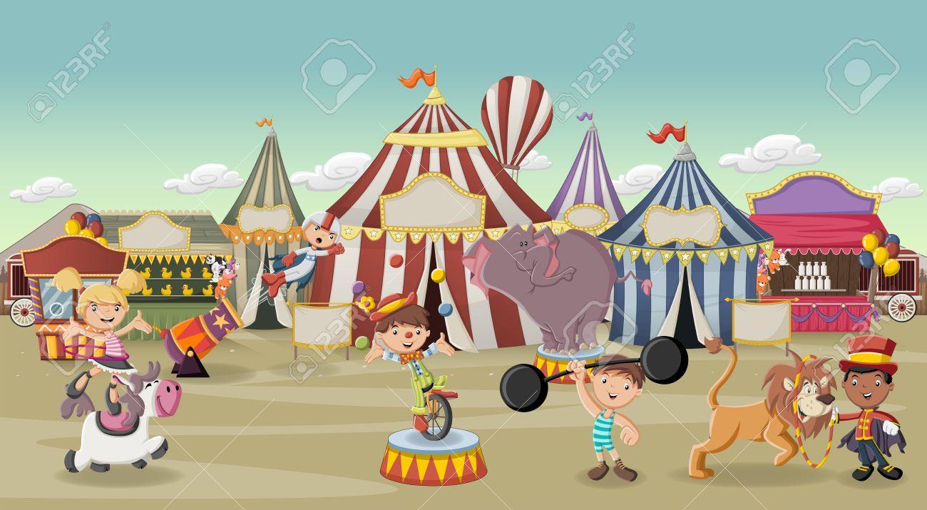 Vettoriale personaggi dei cartoni animati e animali davanti a
