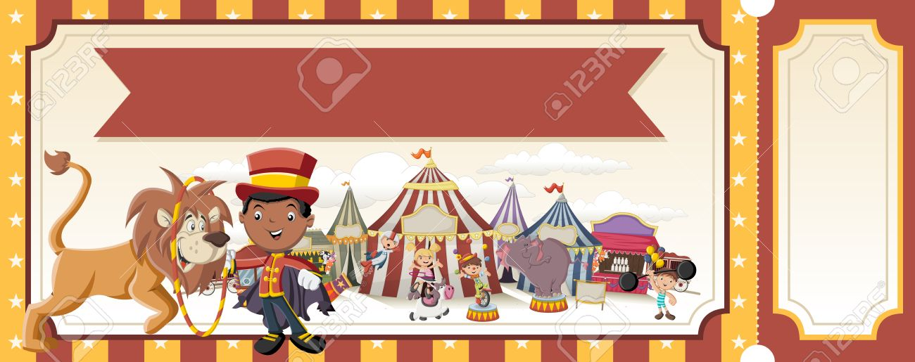Ticket With Cartoon Characters In Front Of Retro Circus Vintage Carnival Background Children