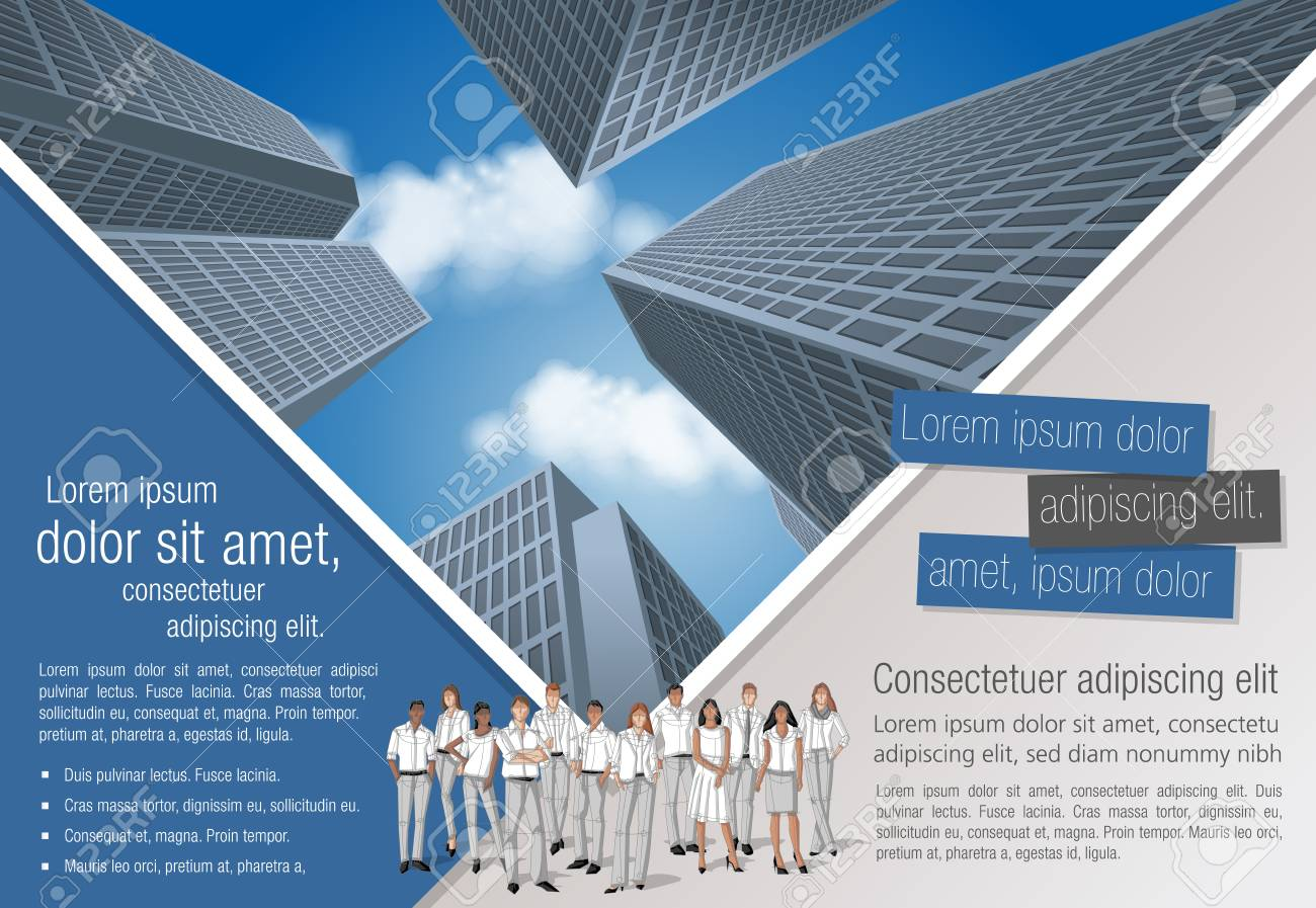 Template for advertising brochure with business people in the city - 66686684