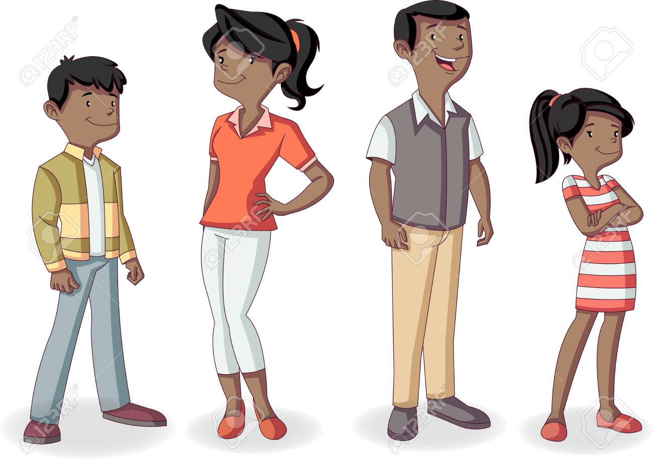 Colorful happy black people. Cartoon african american family. - 75070670