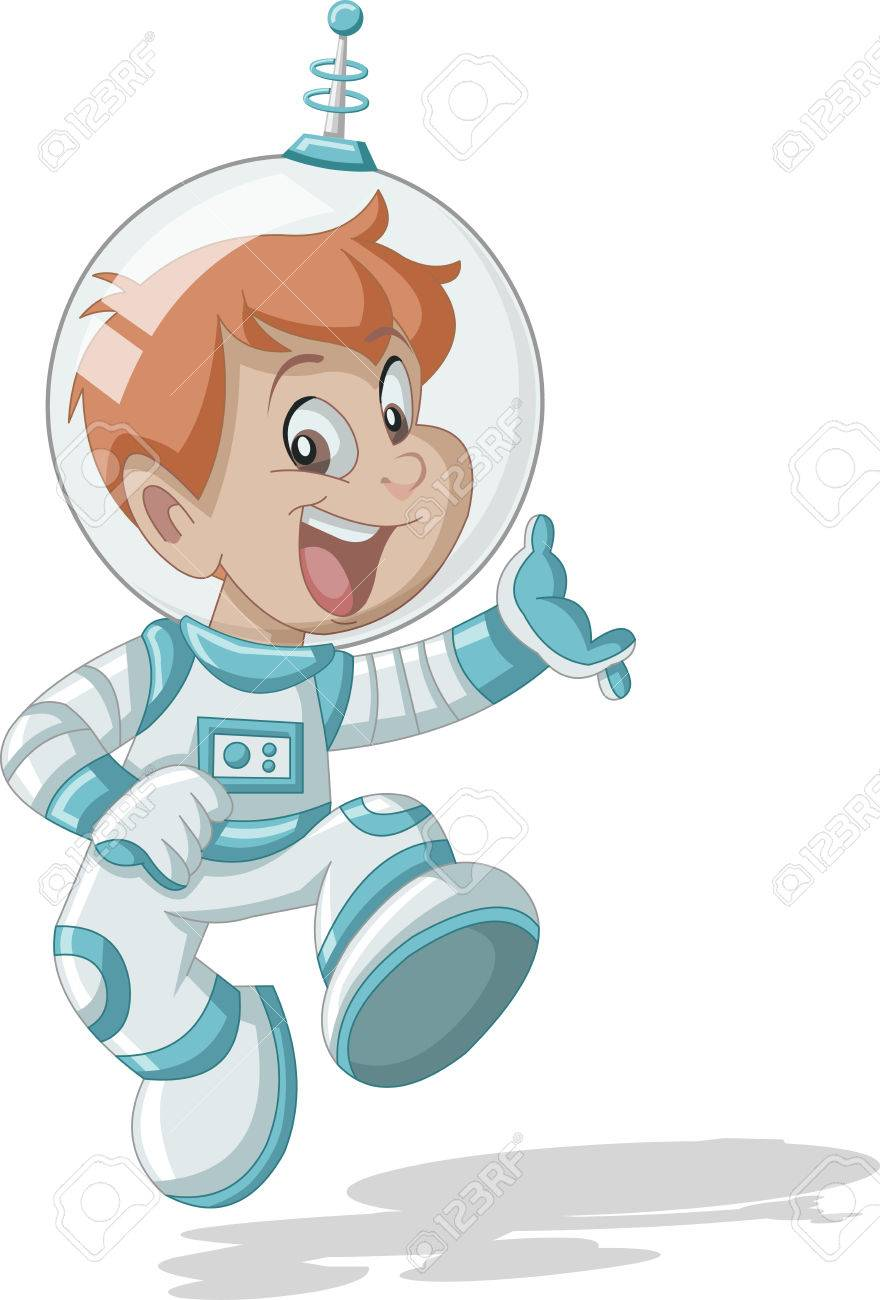 Vettoriale ragazzo di cartone animato astronauta nel vestito