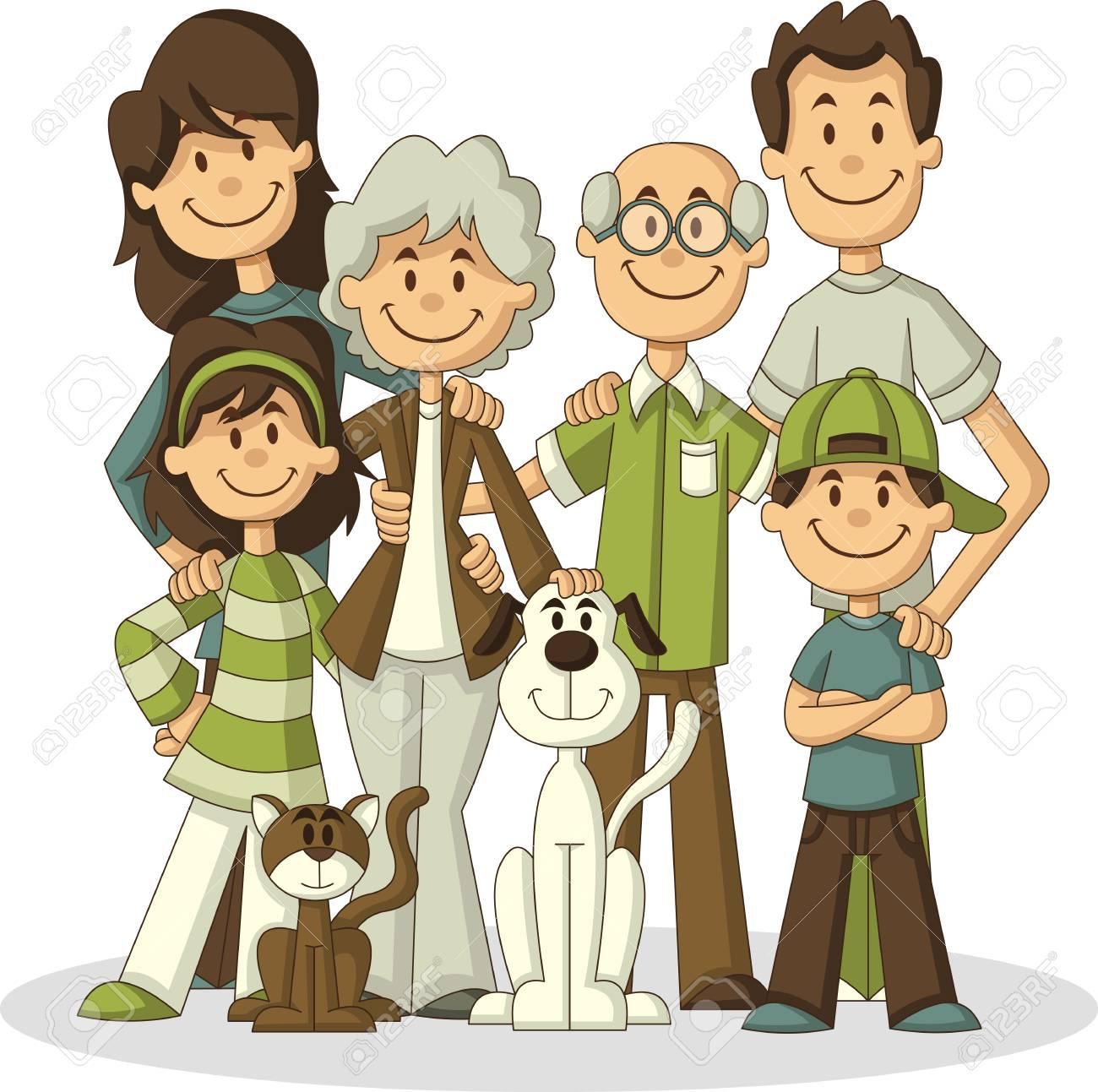 Colorful happy cartoon People. Big family. - 93077738