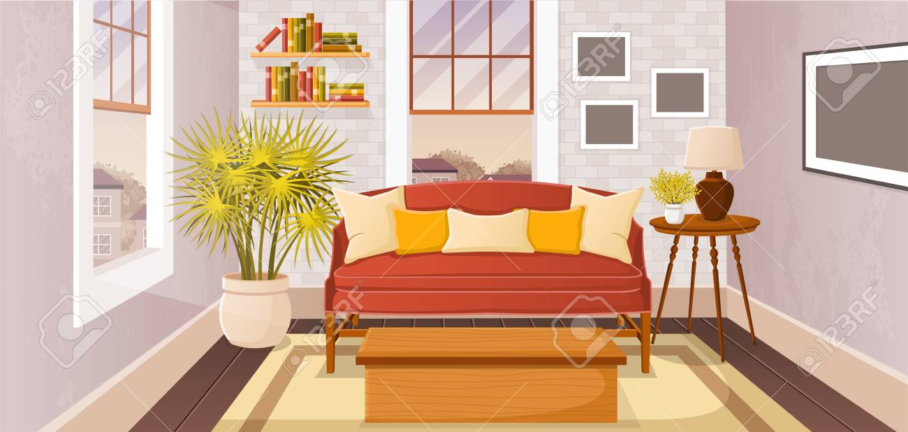 Colorful living room of a house in suburb neighborhood. - 93077432