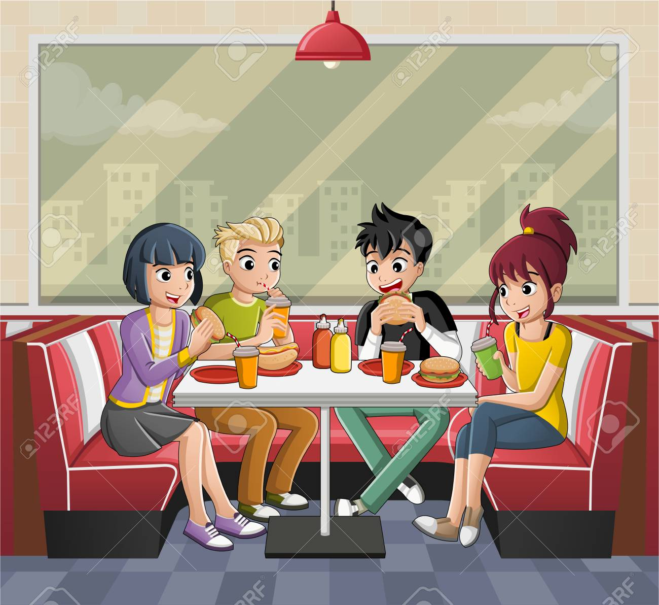 Group Of Cartoon Teenagers Eating Junk Food At Diner Table Royalty Free Cliparts Vectors And Stock Illustration Image 120256459