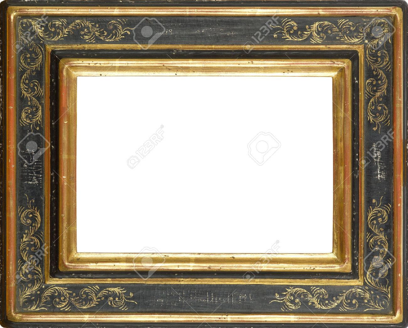 gold and black art picture frame stock photo 12603795