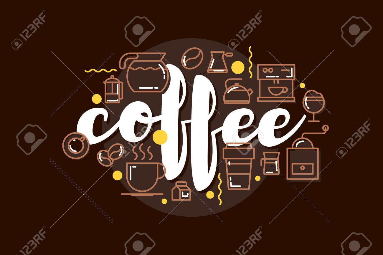 Cafe Banner Template Design With Lettering For Coffee Shop Modern Royalty Free Cliparts Vectors And Stock Illustration Image 84588221