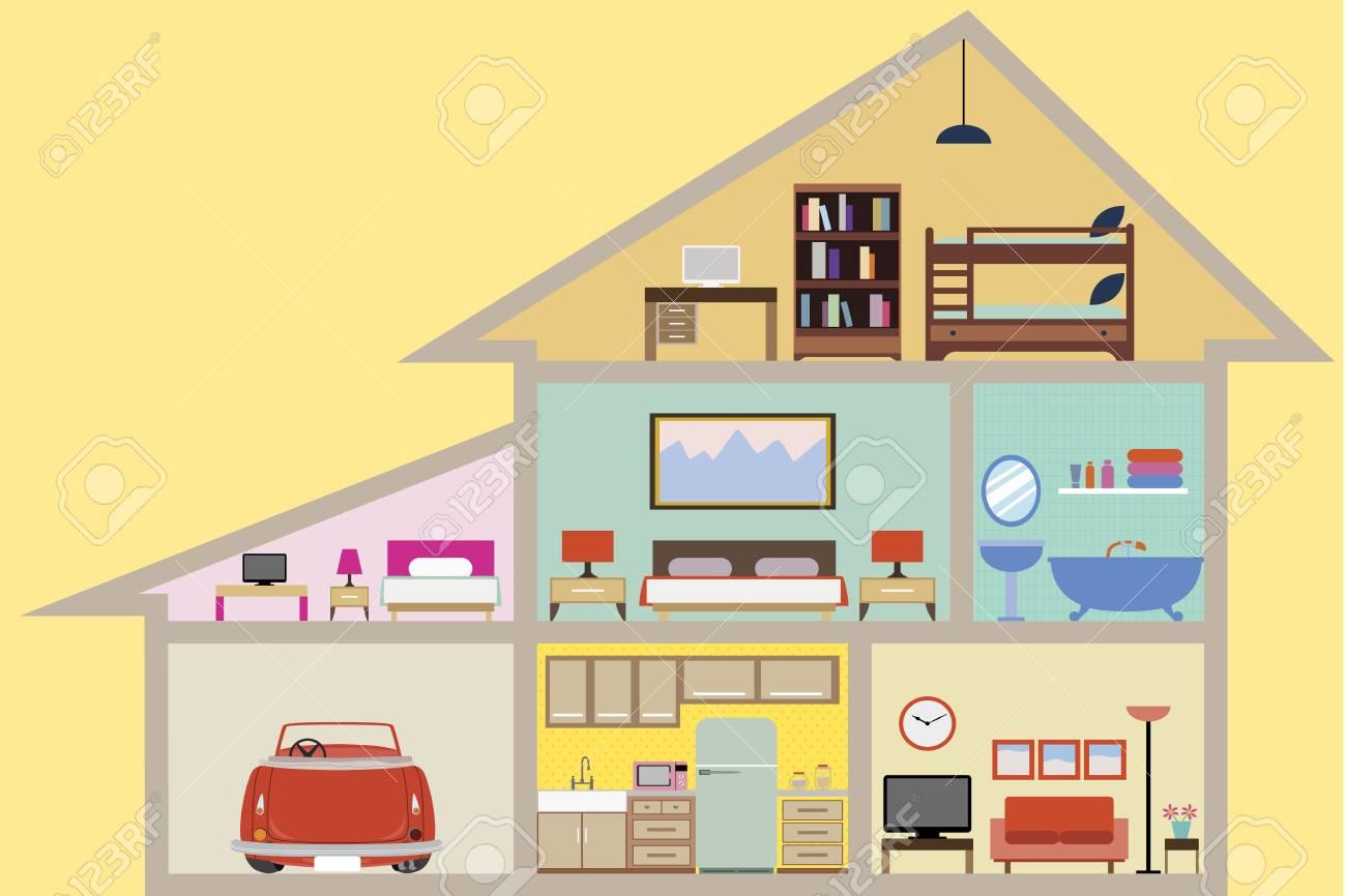 Haus Innen Mit Räumen Vektor Für Ihre Ideen Lizenzfreie Fotos ...
