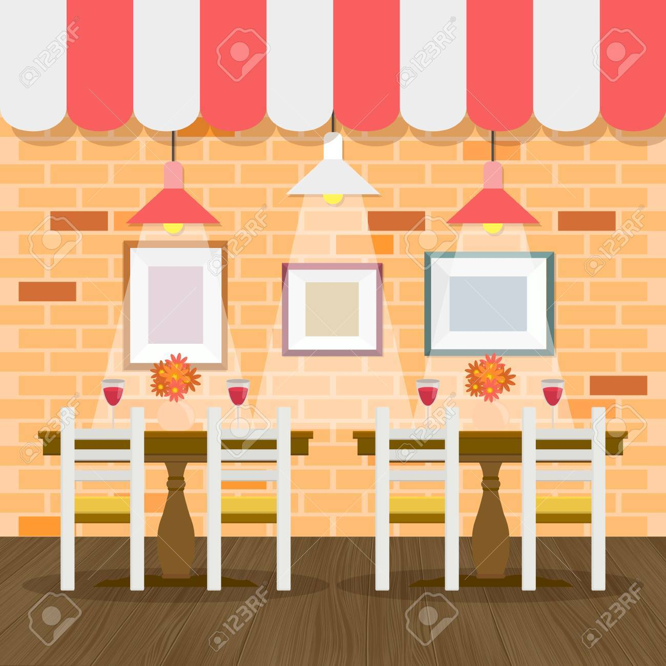 Restaurant Interior With Bricks Wall Vector For Your Ideas Royalty ...