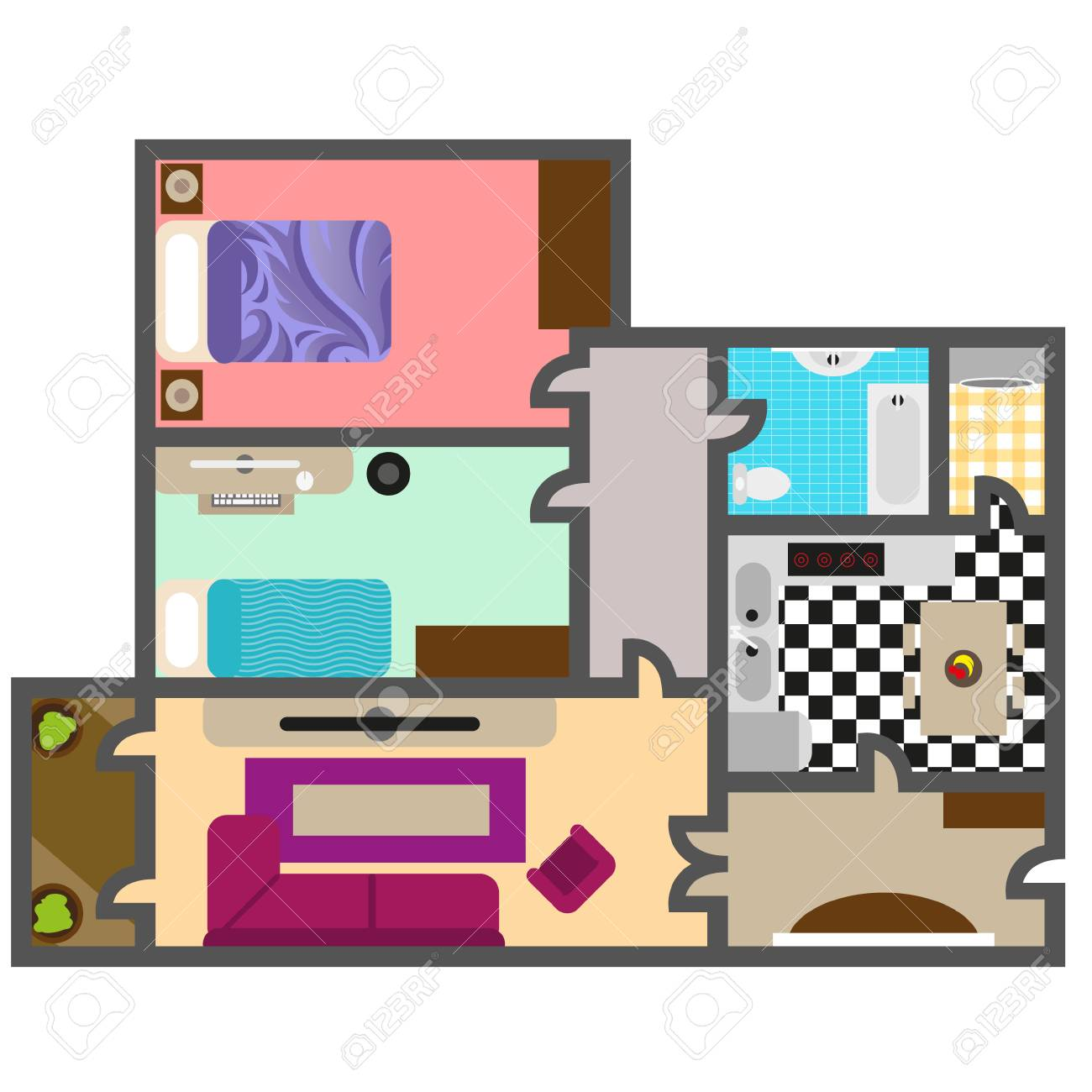 House Floor Plan Vector For Your Ideas Royalty Free Cliparts