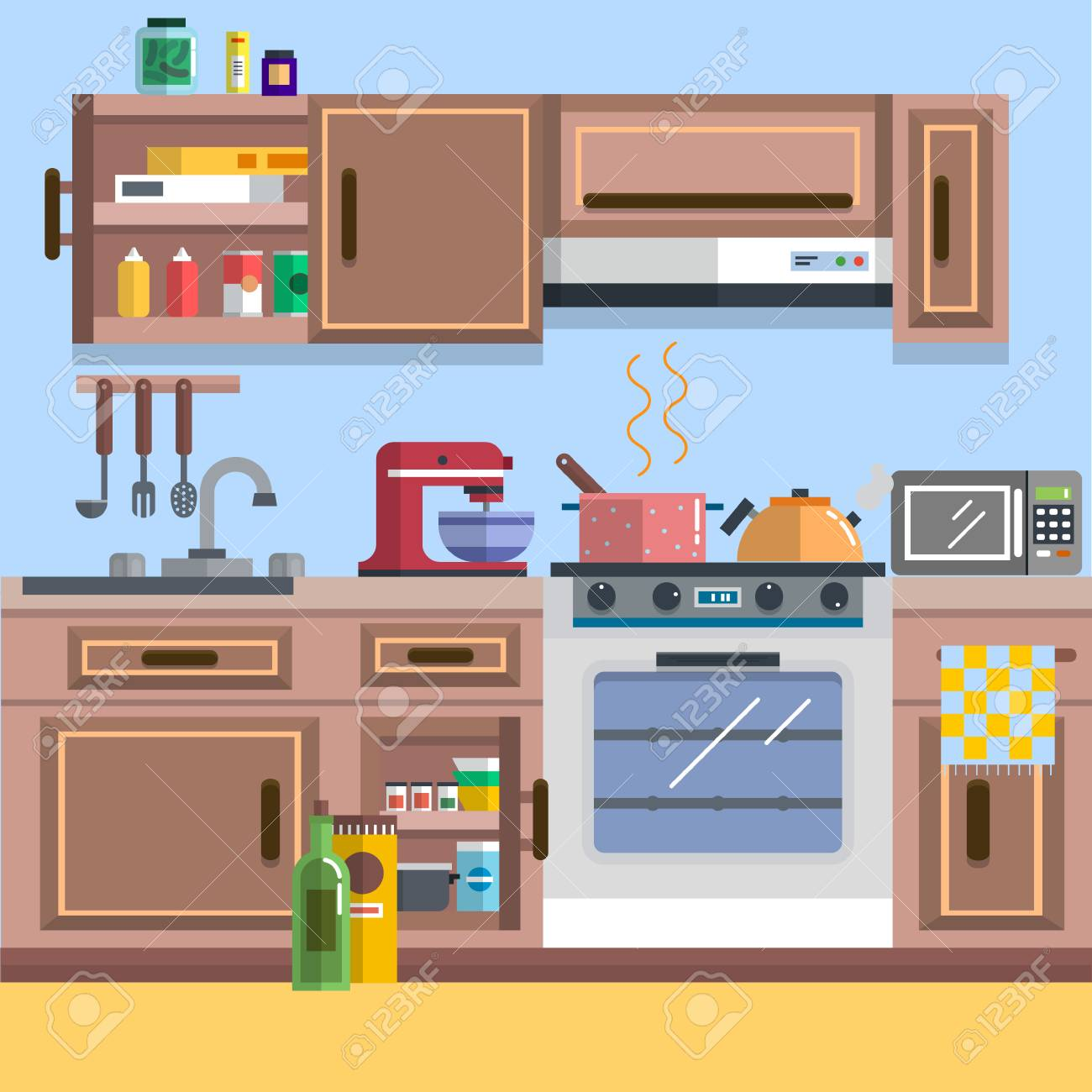 Concept Of Kitchen Interior Vector For Your Ideas Royalty Free
