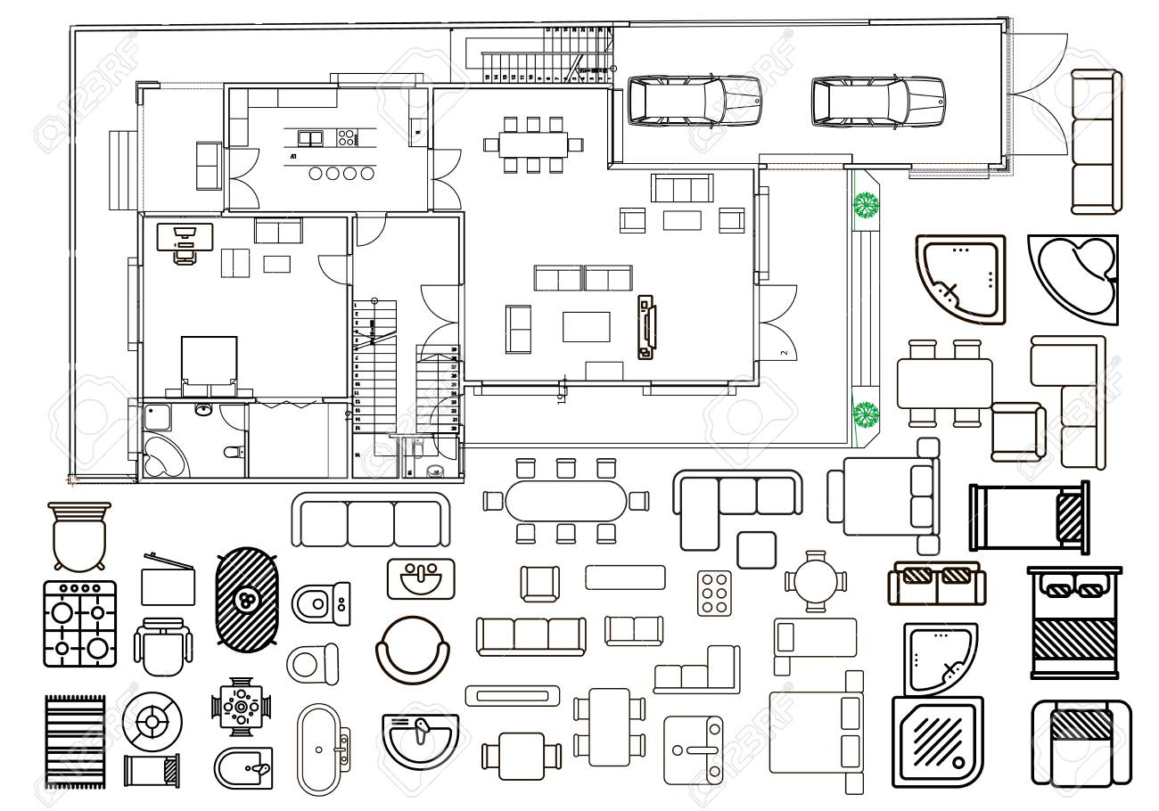 Floorplan With Isolated Furniture Elements In Top View Royalty Free Cliparts Vectors And Stock Illustration Image 80978872