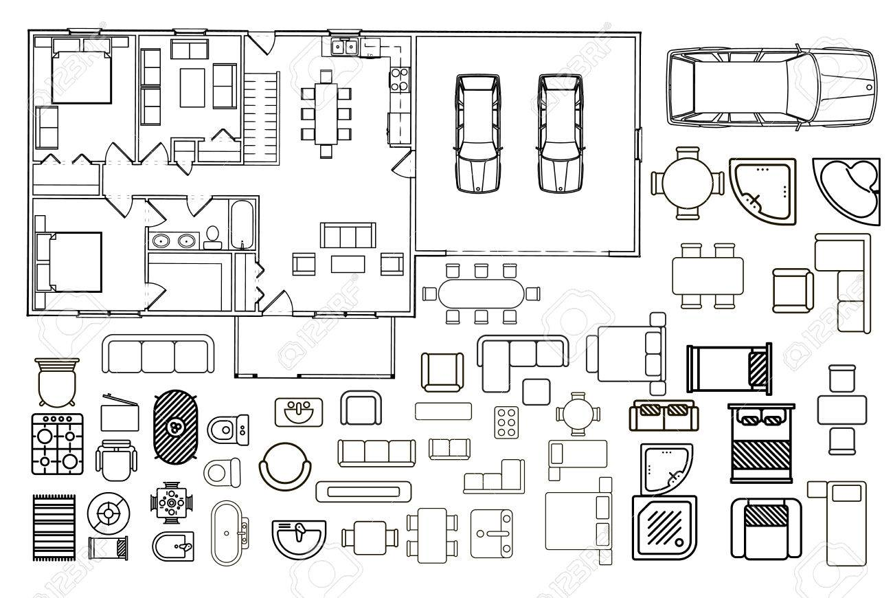 Floorplan With Isolated Furniture Elements In Top View Royalty Free