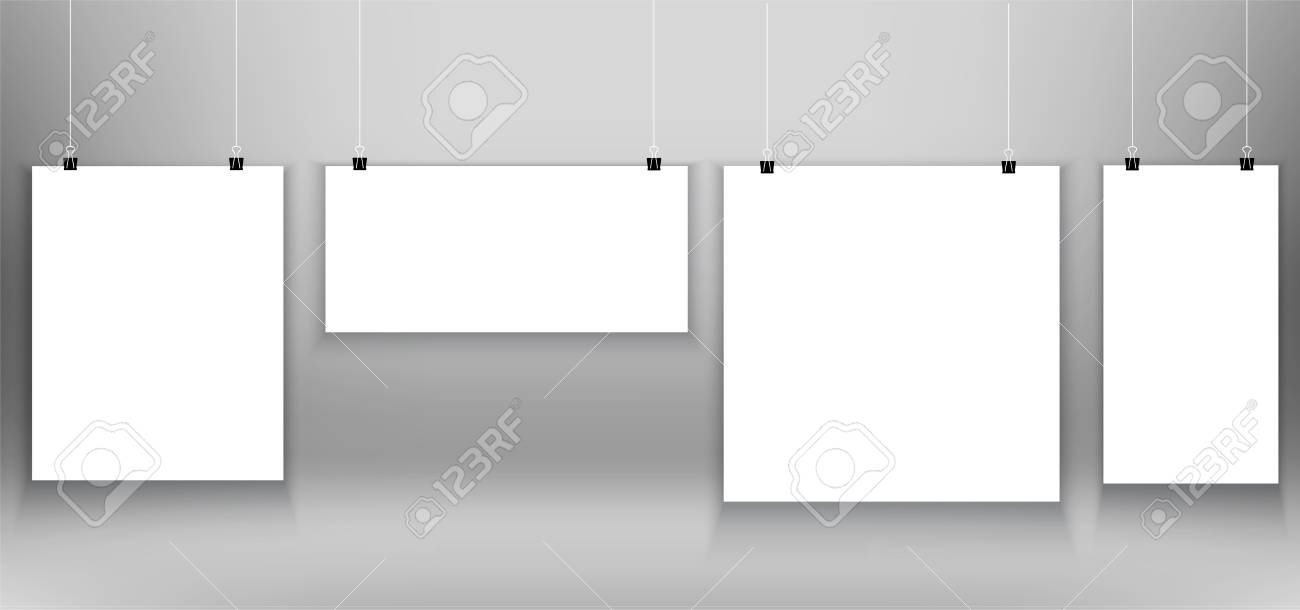 White Poster Frames Mockup On Grey Background Royalty Free Cliparts ...