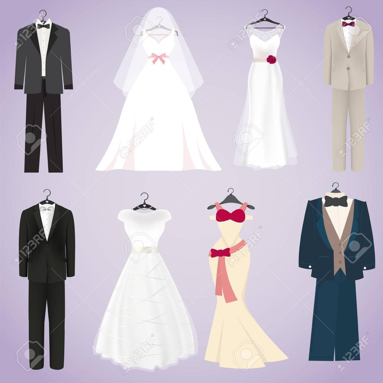 Isolierte Brautkleider Und Kostüme In Niedlichen Stil Lizenzfrei ...