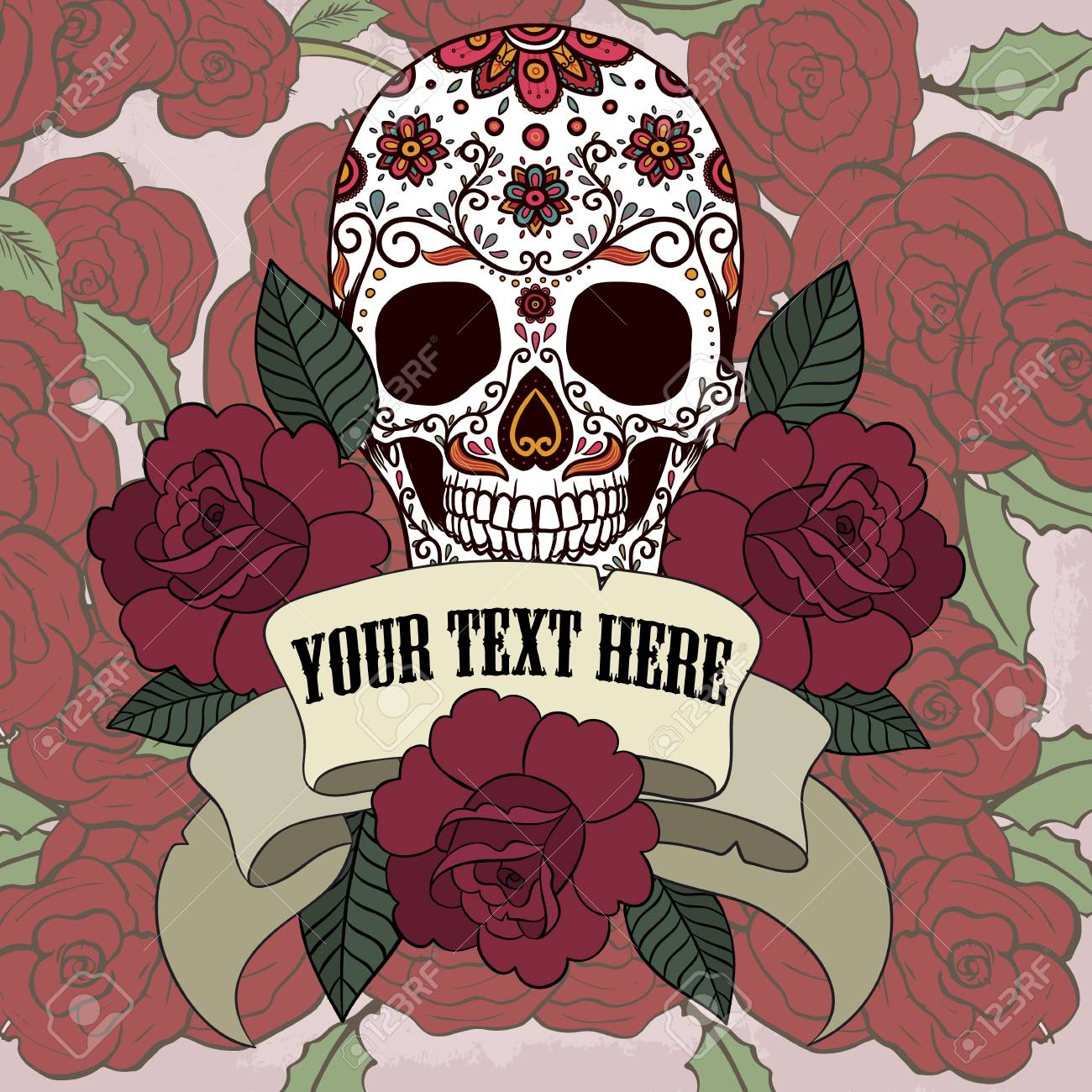 Sugar Skull With Frame With Ribbon And Roses Vector Royalty Free ...