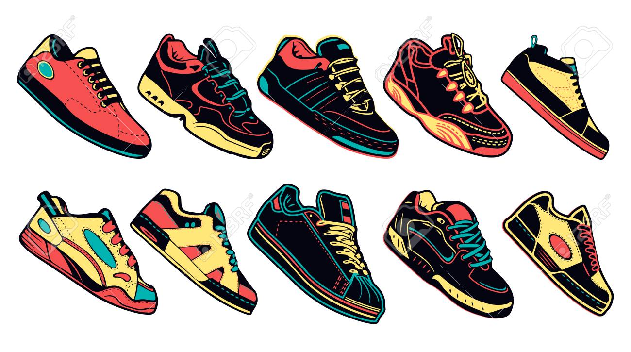 Collection Set Of Colorful Sneakers