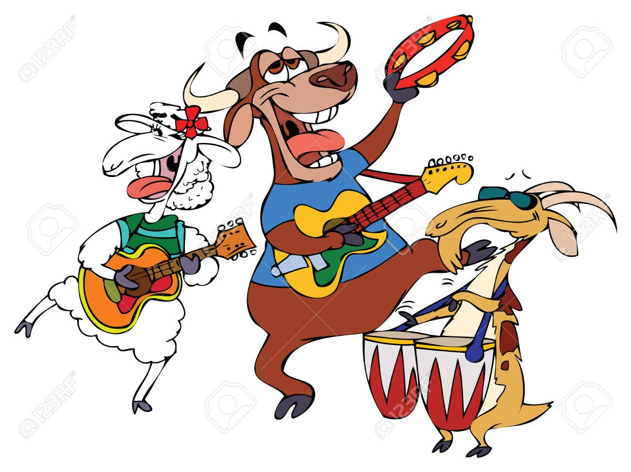 Cartoon Music Band Hornies Royalty Free Cliparts, Vectors, And ...