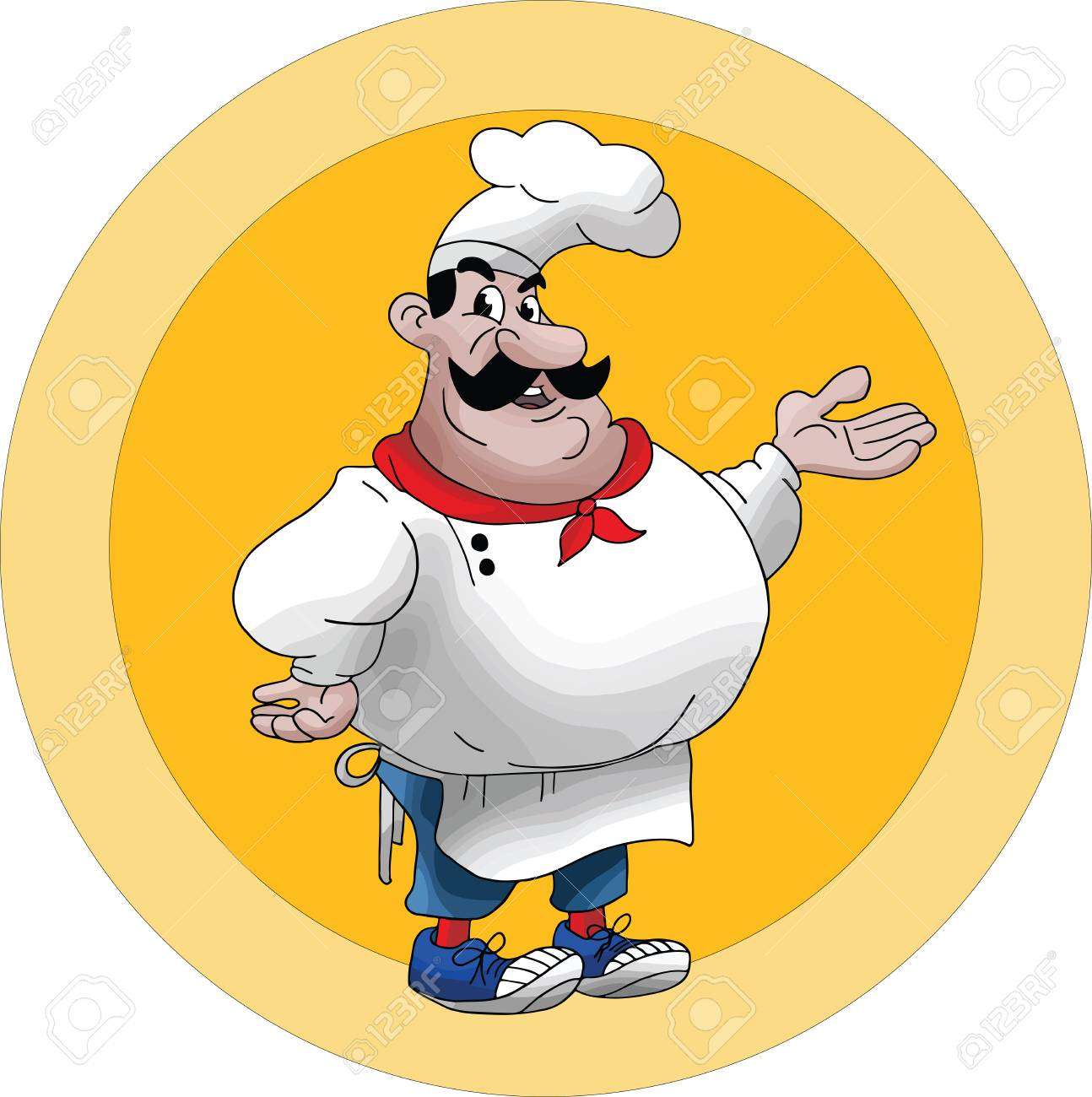 Cartoon Chef giving his favorite meal recipes vector illustration