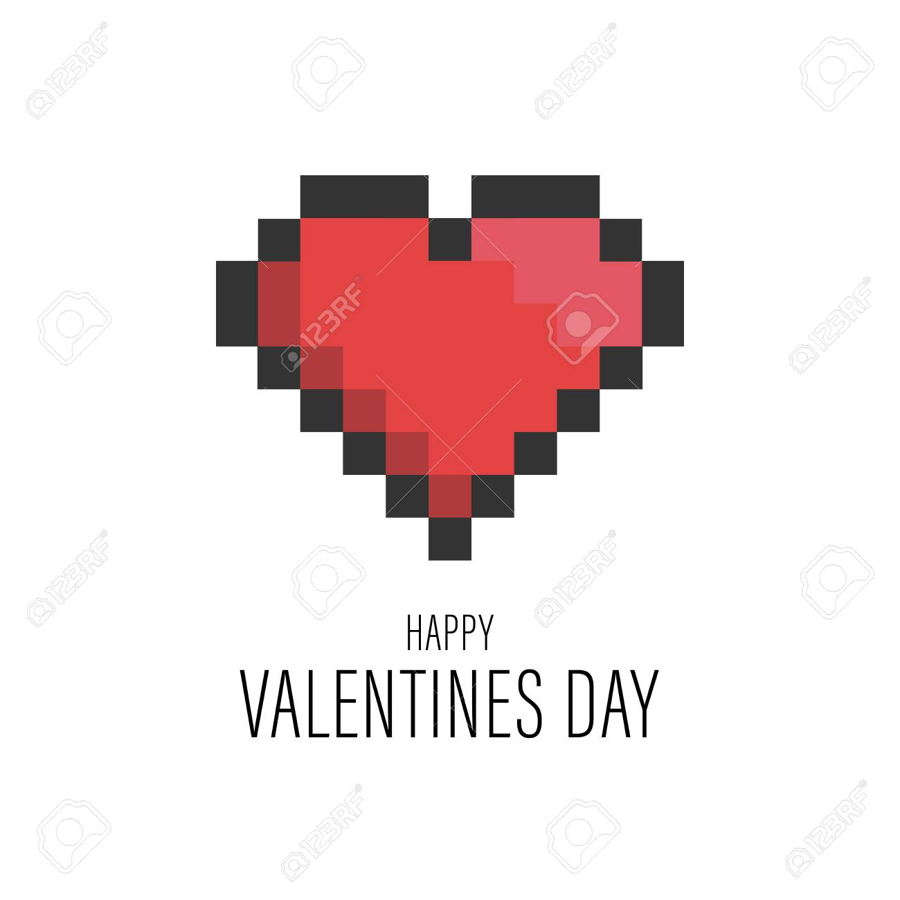 Funny Valentines Day Greeting Card With Pixel Heart For Nerds