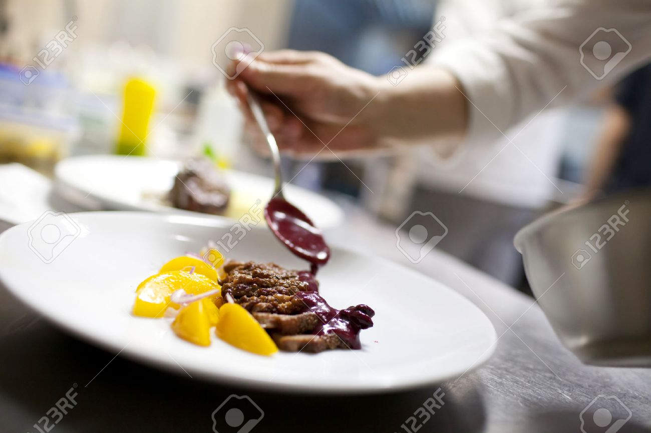 Chef In Restaurant Kitchen Cooking, Only Hands To Be Se Stock Photo    40296400