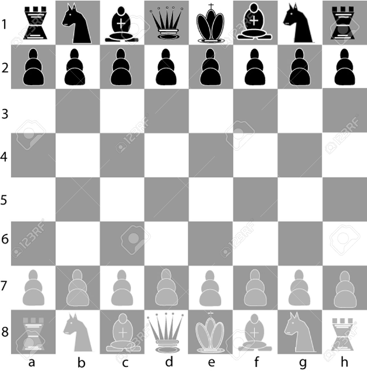 a full chess board with all 32 pieces royalty free cliparts
