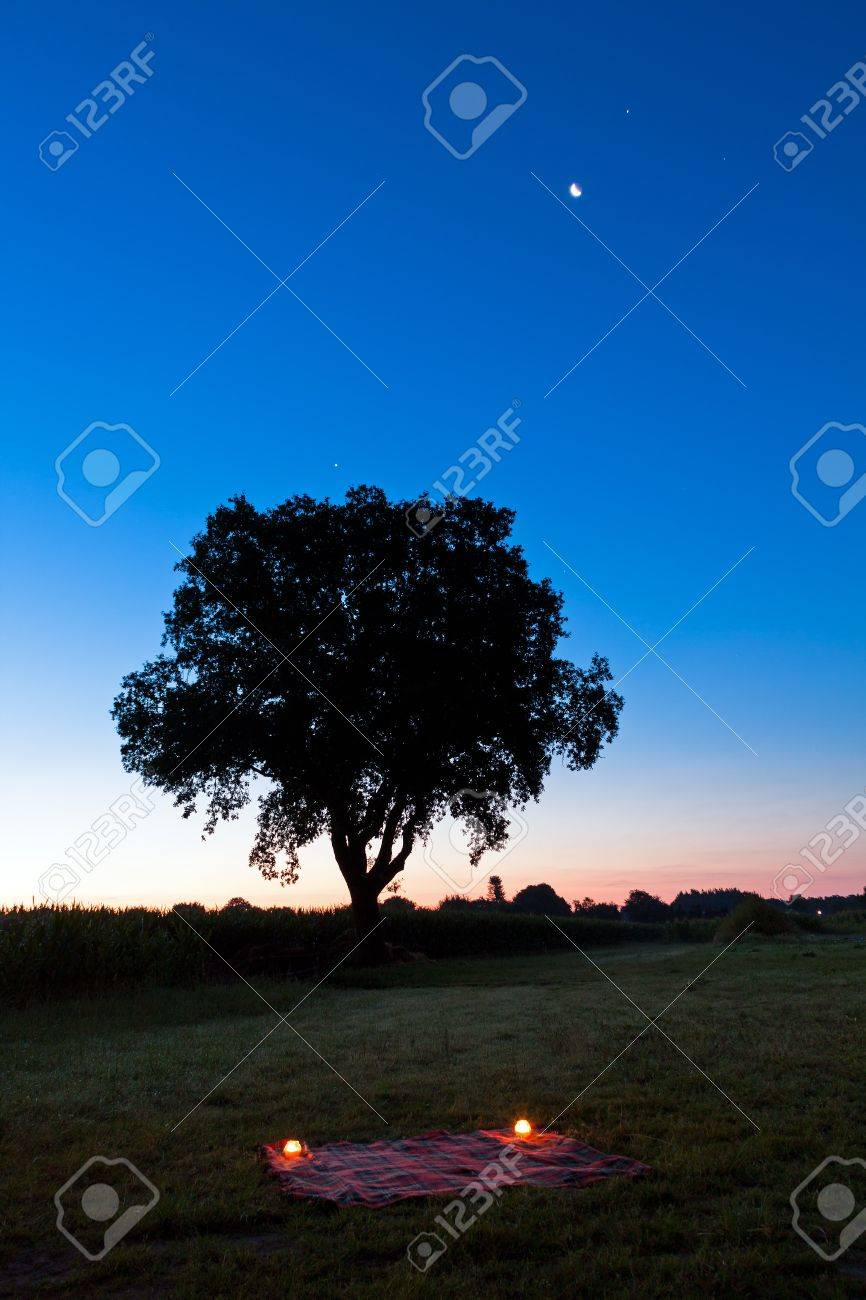 Romantic setting for a picknick with candles in the field under the moon and stars Stock Photo - 16541714
