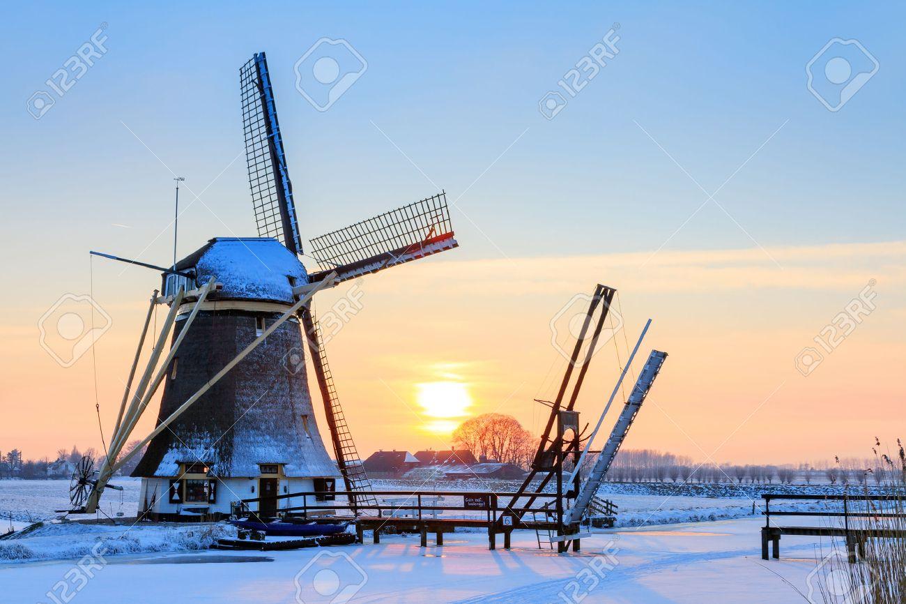 beautiful dutch windmill near baambrugge in the netherlands