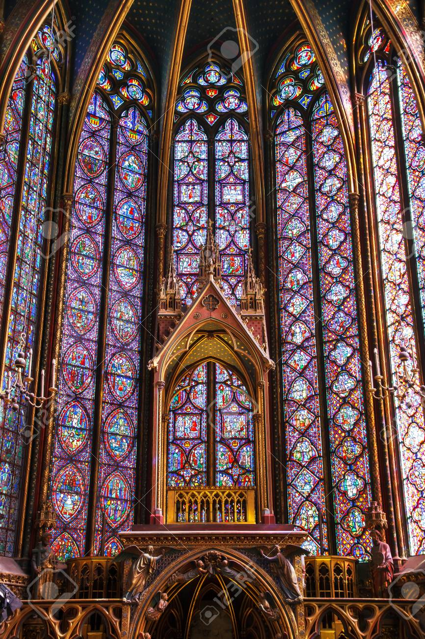 Beautiful Interior Of The Sainte Chapelle Holy Chapel A Royal Medieval Gothic