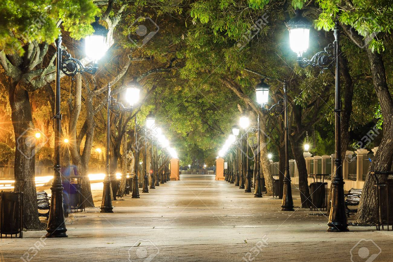 Paseo De La Princesa In Old San Juan Puerto Rico With Lanterns Stock Photo Picture And Royalty Free Image Image 61214712