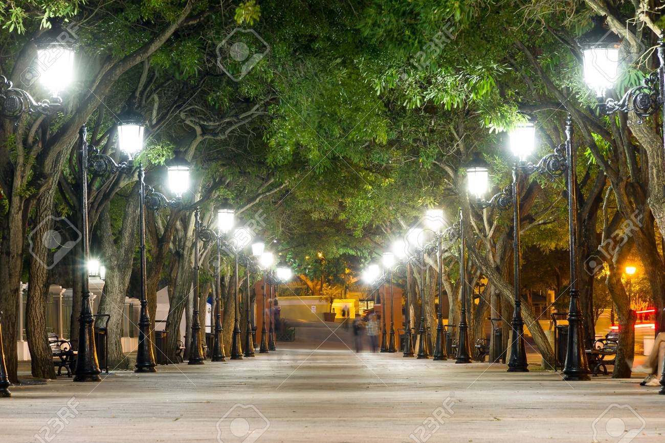 Paseo De La Princesa In Old San Juan Puerto Rico At Dusk Stock Photo Picture And Royalty Free Image Image 67058869