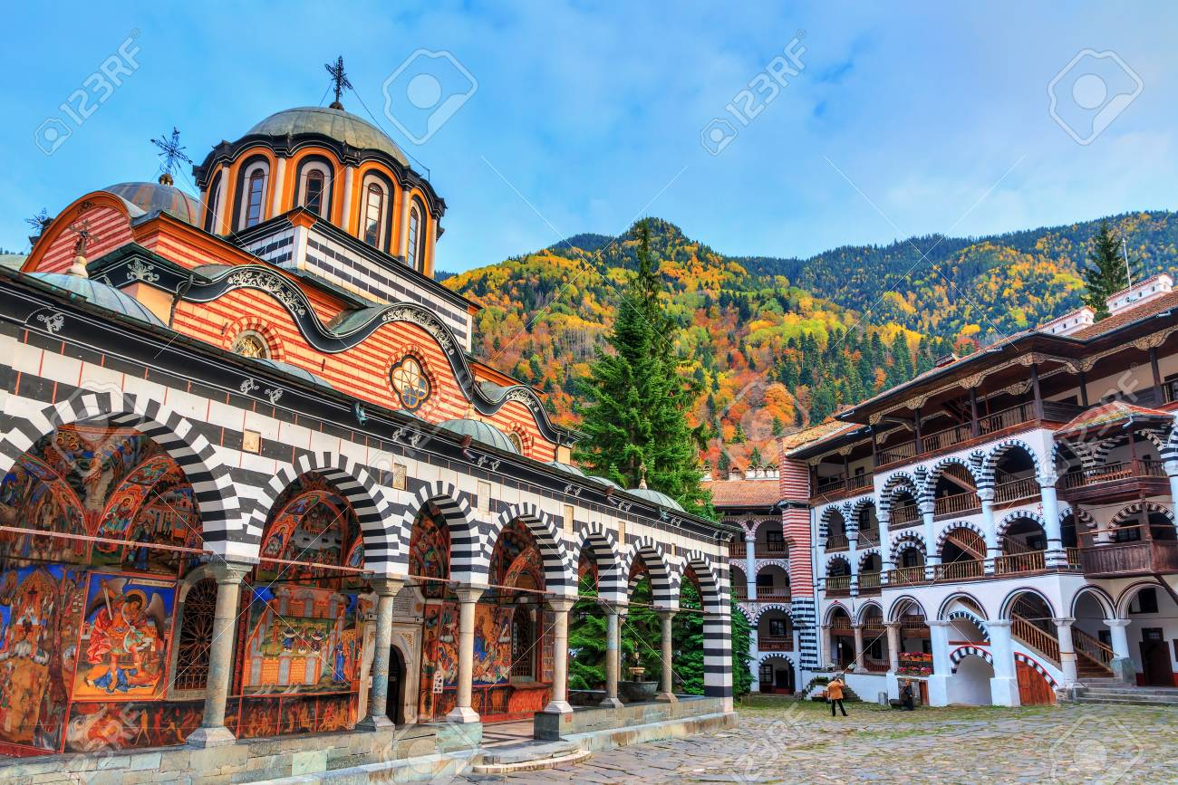 Beautiful view of the Orthodox Rila Monastery, a famous tourist attraction and cultural heritage monument in the Rila Nature Park mountains in Bulgaria - 106784852