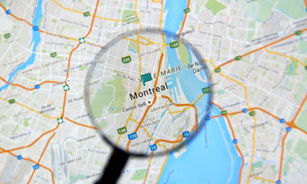 MONTREAL, CANADA - FEBRUARY, 2016 - Montreal on Google maps app.. on google mapquest, gouverneur place dupuis montreal, google map of vancouver canada, bonjour montreal, map de montreal, hyatt regency hotel montreal, city northeast of montreal, ile ste helene montreal, tripadvisor montreal, mapquest montreal, map of montreal, accuweather montreal, google canada office, weather montreal,