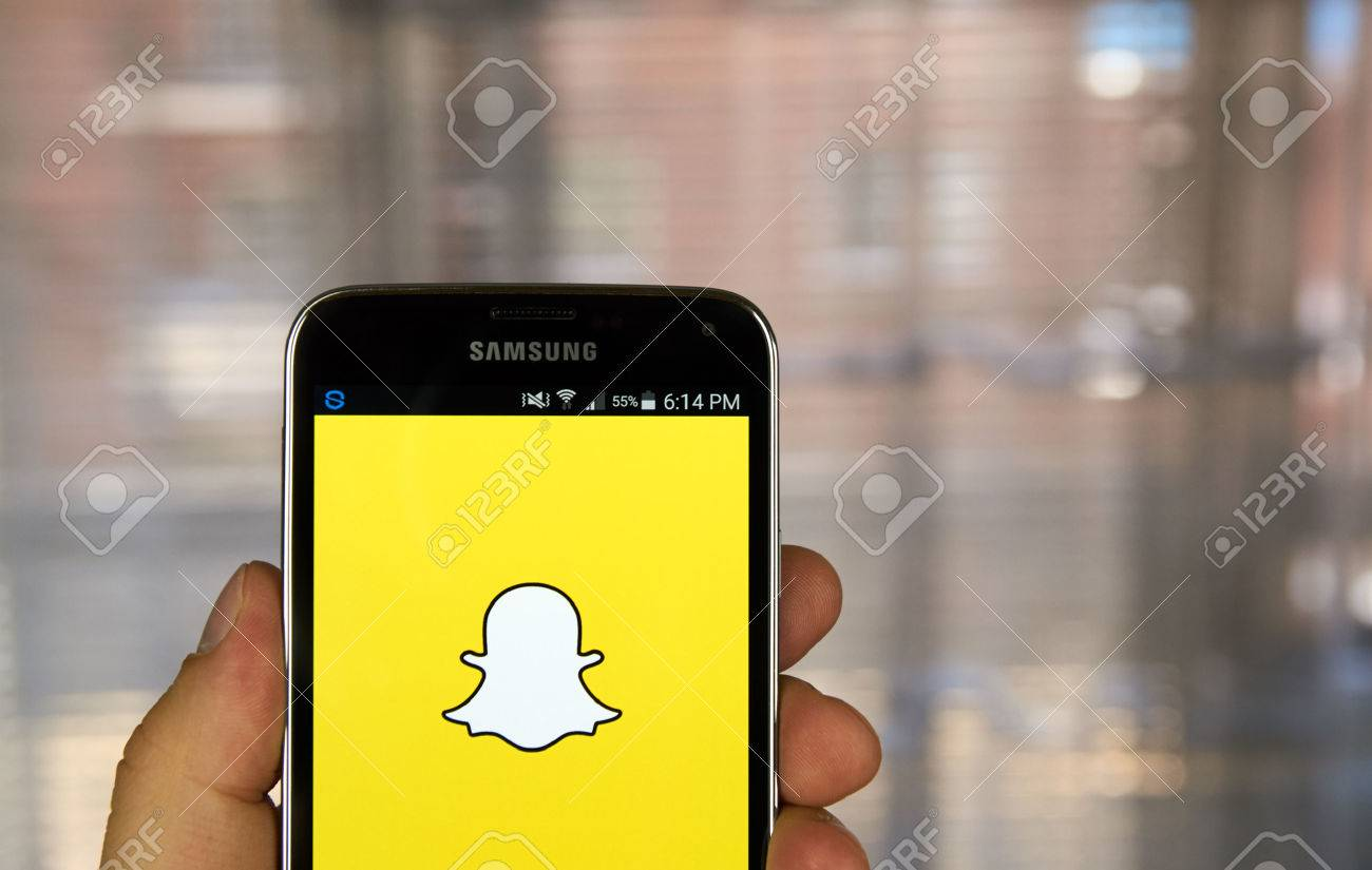 MONTREAL, CANADA - MARCH 20, 2016 - Snapchat application on android smartphone. Snapchat is a mobile messaging application used to share photos, videos, text, and drawings. - 54843340