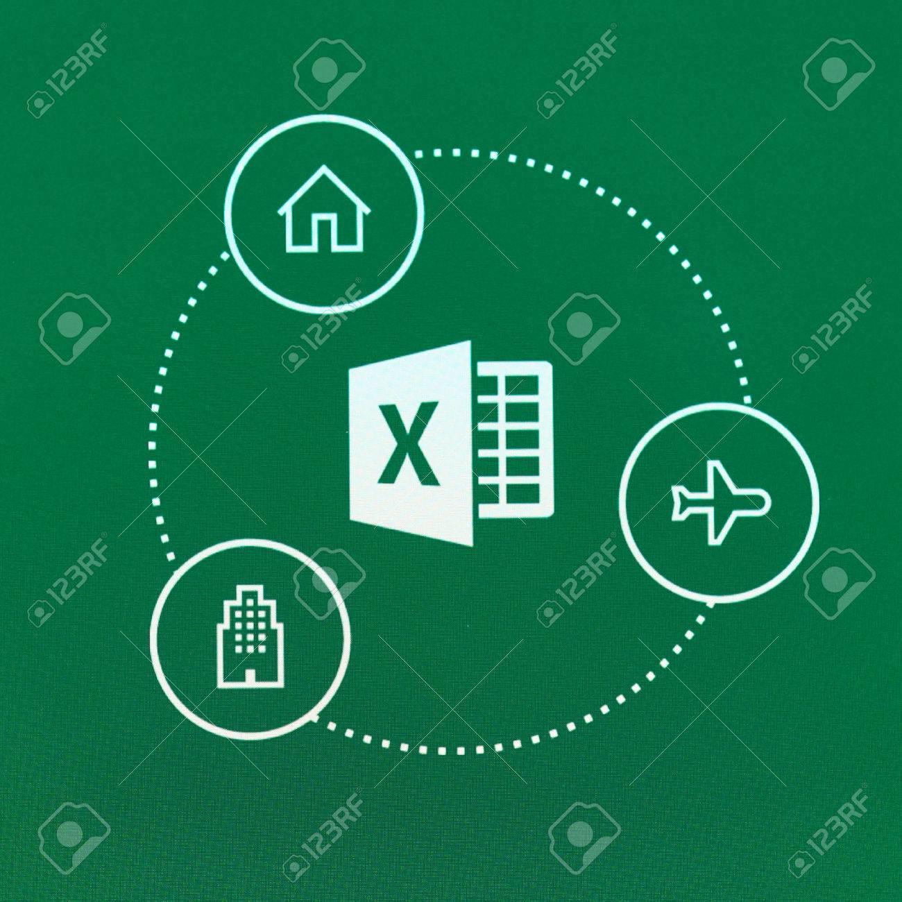 MONTREAL, CANADA - 23 mai 2016 - logo Microsoft Office Excel sur un écran  de téléphone portable  Microsoft Excel est un programme d'ordinateur pour