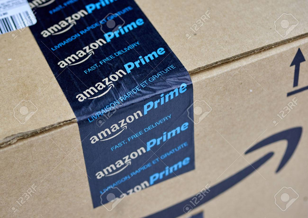 MONTREAL, CANADA   MARCH 28, 2017: Amazon Prime Shipping Box With Branded  Tape