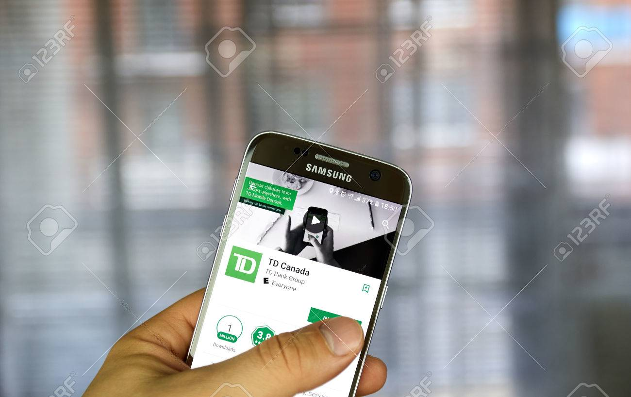 MONTREAL, CANADA - MARCH 29, 2017 : TD bank app on S7 screen