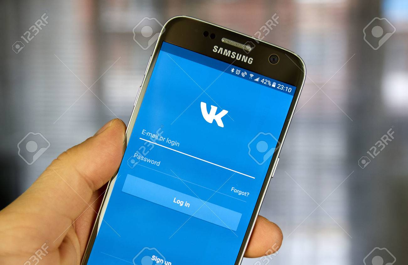 MONTREAL, CANADA - JULY 30, 2017: Vkontakte Login screen on Samsung