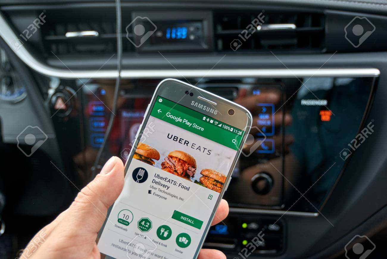 MONTREAL, CANADA - AUGUST 22, 2017 : Uber Eats application on