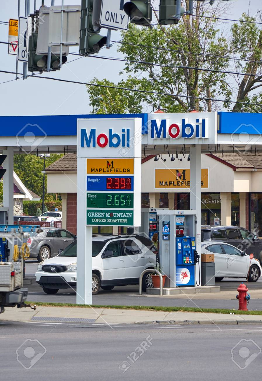 PLATTSBURGH, USA - AUGUST 23, 2017 : Mobil gas station with gas