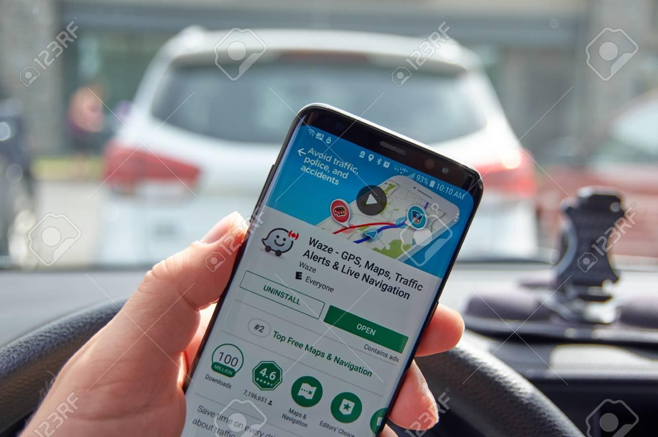 MONTREAL, CANADA - AUGUST 8, 2018: Google Waze GPS navigation