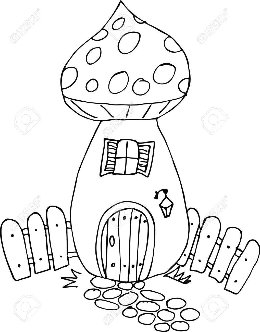 Style Doodle Dessiné Maison De Fées Dessin Animé