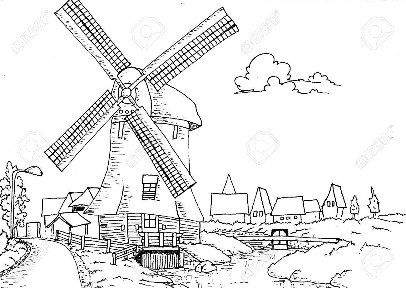 Hand drawn paysage hollandais avec moulin illustration pour le livre  colorier pour les adultes