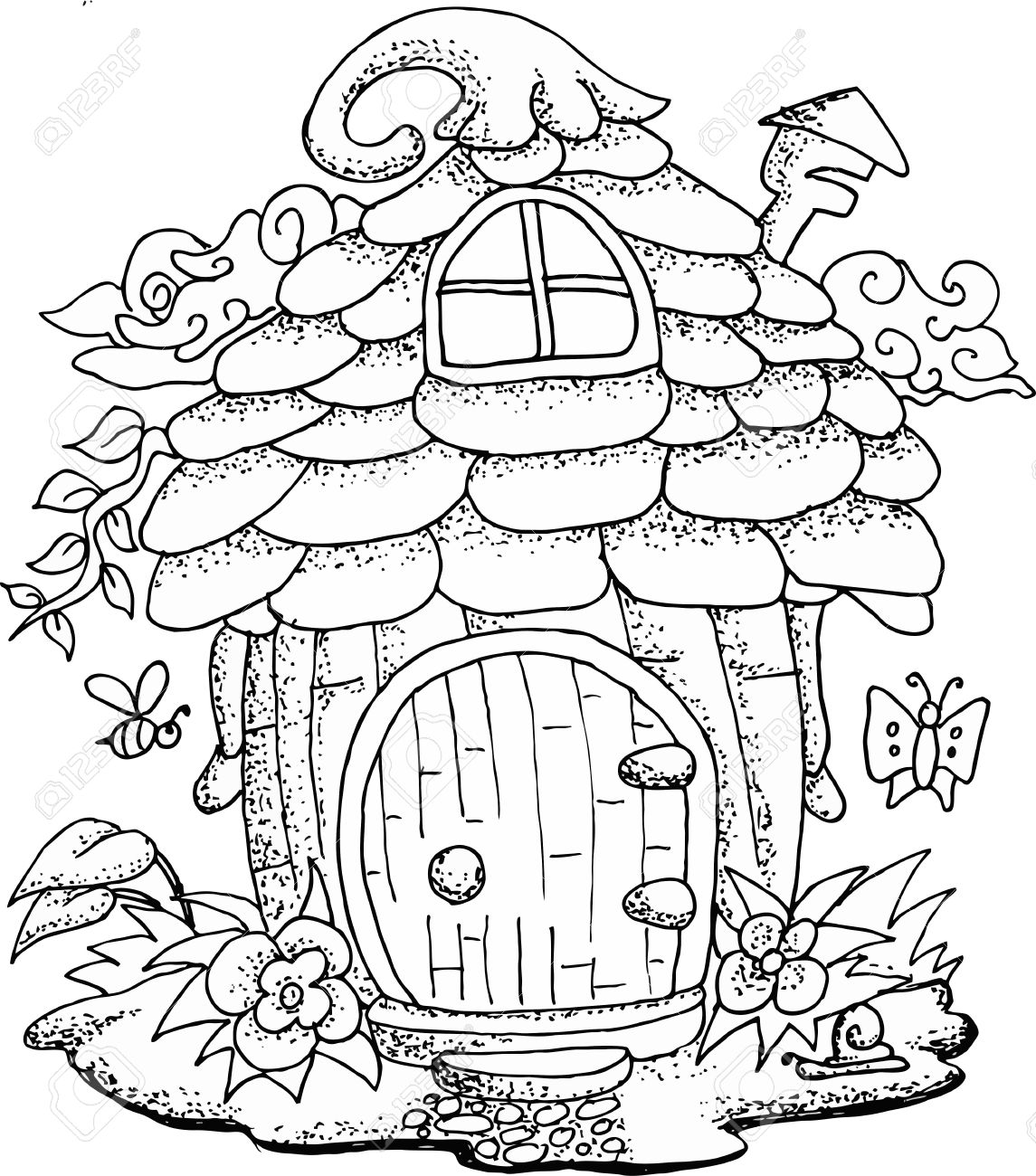 Fairy House Coloring Pages Coloring Pages