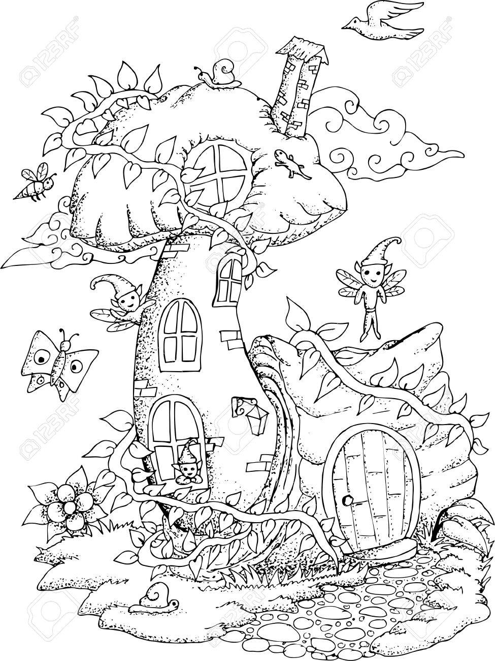 Black And White Illustration Of A Fairy House With Details For ...